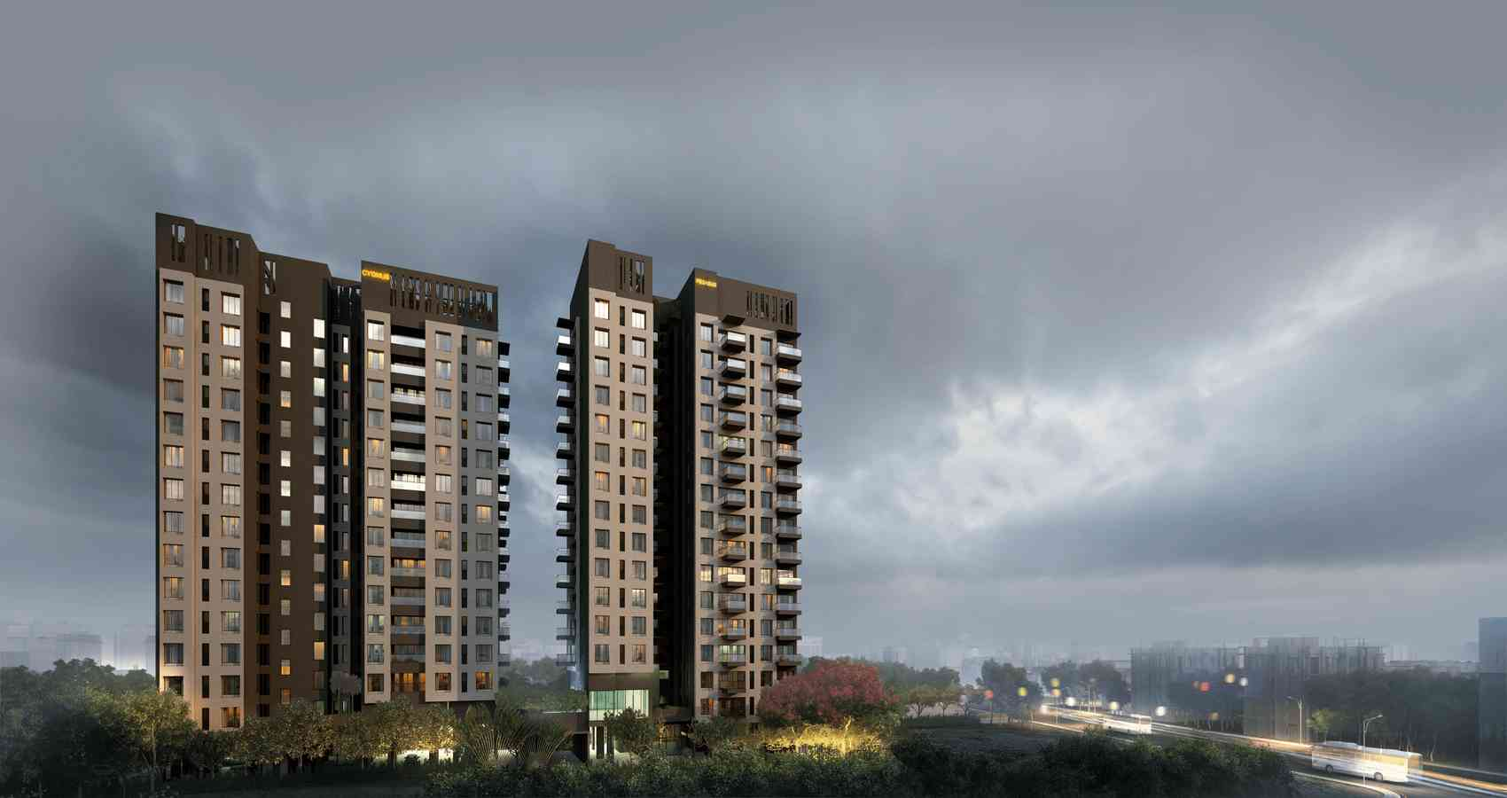 Highrise apartment of Darpan 88° with the thundering clouds
