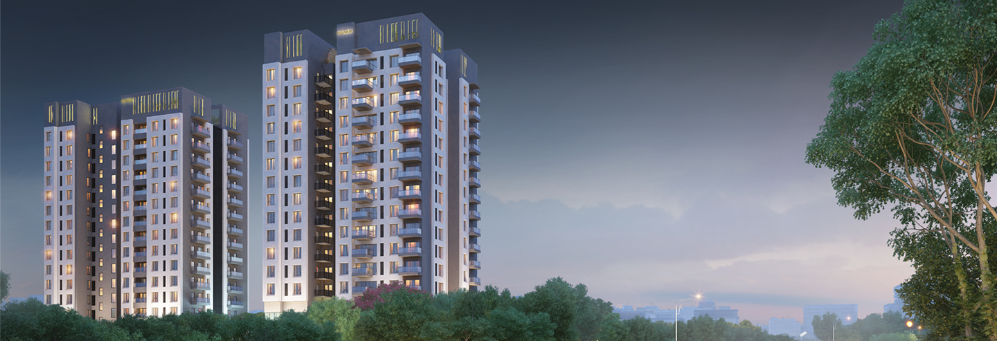 The two towers of Darpan 88° enclosed with greeneries with the glimpses of                                             beautiful hills